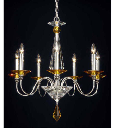 Schonbek Jasmine 7 Light Chandelier in Silver and Topaz Optic Handcut Colors Trim 9677-40TO photo