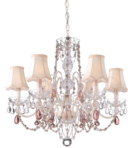 Schonbek A La Mode 6 Light Chandelier in Cream and Pink Vintage Crystal Trim 1846PK photo