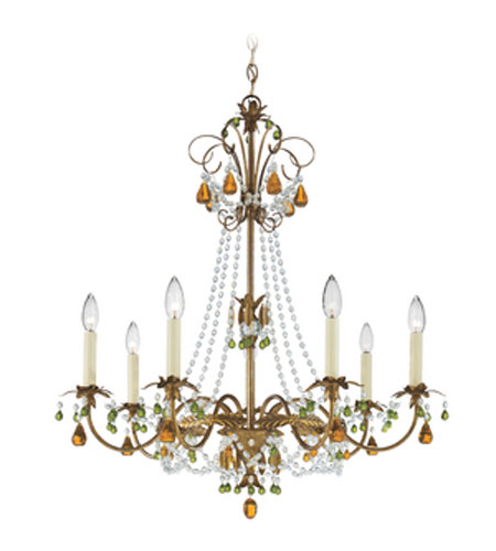 Schonbek Adagio 7 Light Chandelier in Etruscan Gold with Olivine Vintage Crystal Colors 5107-23OL photo