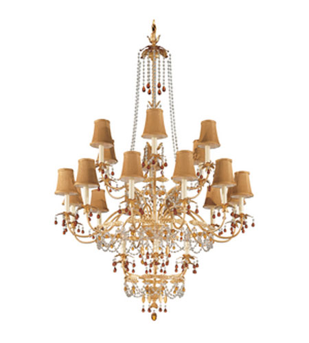 Schonbek Adagio 24 Light Chandelier in French Gold with Topaz Vintage Crystal Colors 5112-26TO photo
