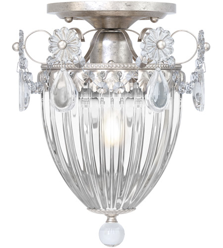 Schonbek 1239-48S Bagatelle 1 Light 8 inch Antique Silver Semi Flush Mount Ceiling Light in Clear Swarovski photo