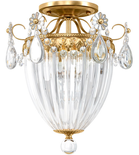 Schonbek 1242-211S Bagatelle 3 Light 11 inch Aurelia Gold Semi-Flush Mount Ceiling Light in Clear Swarovski photo
