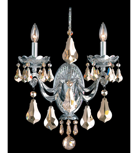 Schonbek Cadence 2 Light Wall Sconce in Silver and Golden Shadow Swarovski Elements Colors Trim 5331-40GS photo