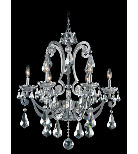 Schonbek Cadence 6 Light Chandelier in Silver and Silver Shade Swarovski Elements Colors Trim 5333-40SH photo