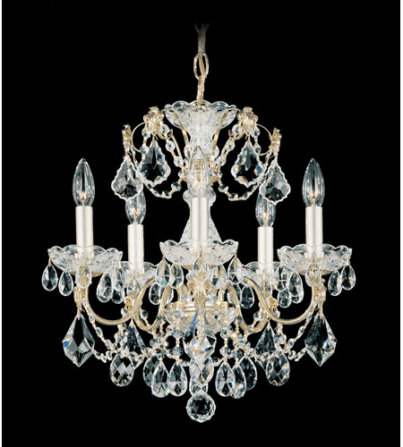 Schonbek Century 5 Light Chandelier in Gold and Clear Heritage Handcut Trim 1704-20 photo