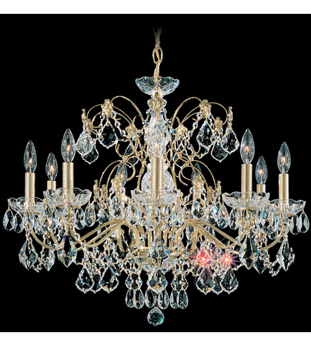 Schonbek Century 9 Light Chandelier In Gold And Clear