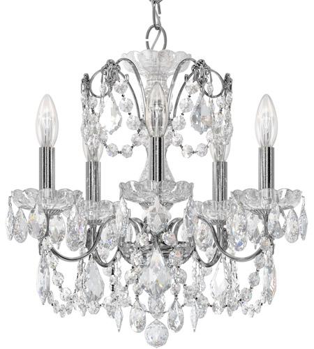 Schonbek 1704 40 Century 5 Light 17 Inch Silver Chandelier Ceiling