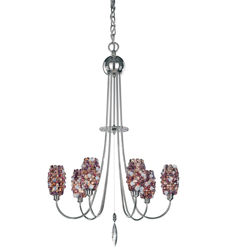 Schonbek Dionyx 6 Light Chandelier in Stainless Steel and Carnelian Swarovski Elements Trim DI1828CAR photo