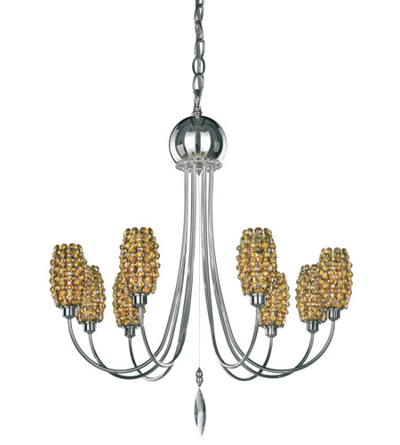 Schonbek Dionyx 8 Light Chandelier in Stainless Steel and Tortoise Shell Swarovski Elements Trim DI2123TOR photo