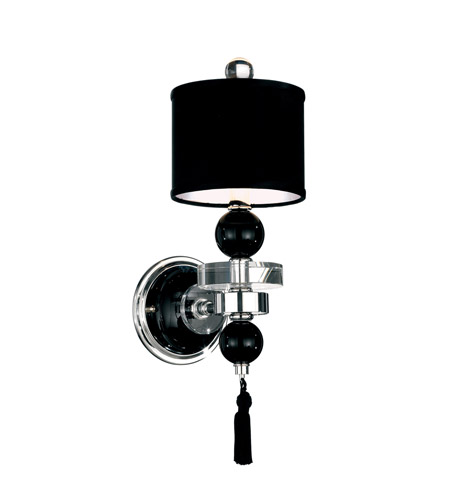 Schonbek Diva Home Furnishing 12 Light Wall Sconce in Silver and Cl/Bk Optic Trim 3851BLACK photo