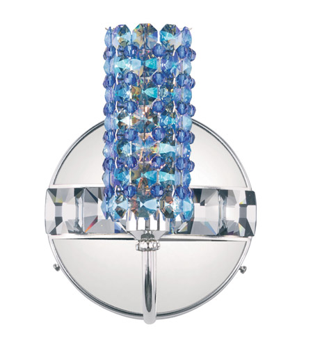 Schonbek Elements 1 Light Wall Sconce in Stainless Steel and Sapphire Swarovski Elements Trim ELW0506SAP photo