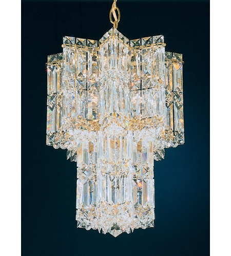 Schonbek Equinoxe 9 Light Chandelier in Gold and Clear Gemcut Trim 2711-20 photo