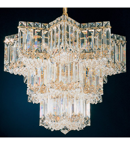 Schonbek Equinoxe 7 Light Chandelier in Gold and Clear Gemcut Trim 2712-20 photo