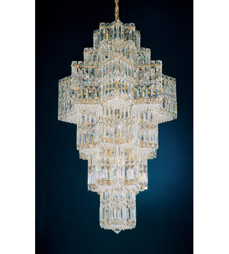 Schonbek Equinoxe 35 Light Chandelier in Gold and Clear Gemcut Trim 2725-20 photo