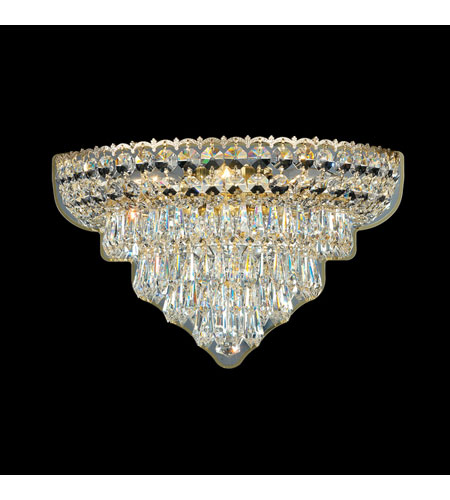 Schonbek Excelsior 3 Light Wall Sconce in Special Gold and Clear Gemcut Trim 2400 photo