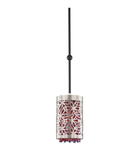 Schonbek Shadow Dance Pendant in Brushed Stainless Steel and Cherry Swarovski Elements Colors Trim SH0404N-16CHE photo