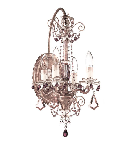 Schonbek Florentine 4 Light Wall Sconce in Tourmaline and Amethyst Heritage Handcut Trim 5323-82 photo
