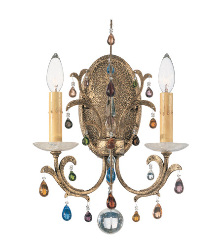 Schonbek Genesis 2 Light Wall Sconce in Bronze Gold and Color Mix Vintage W/Jewel Trim 9872 photo