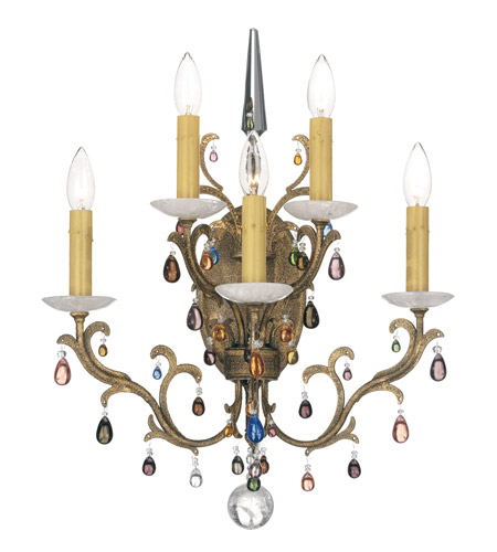 Schonbek Genesis 5 Light Wall Sconce in Bronze Gold and Color Mix Vintage W/Jewel Trim 9874 photo