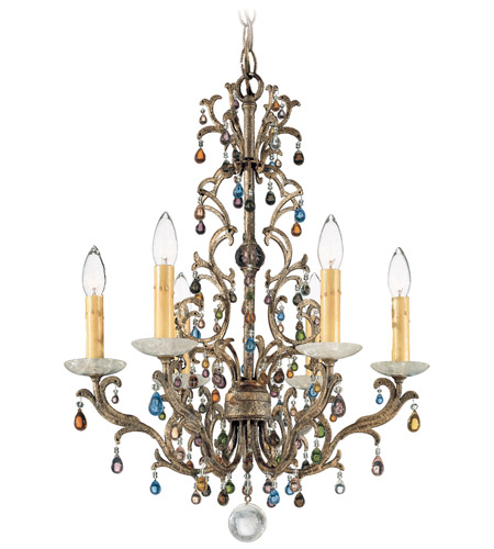 Schonbek Genesis 6 Light Chandelier in Bronze Gold and Color Mix Vintage W/Jewel Trim 9876 photo