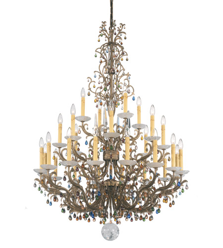 Genesis 28 Light 110V Chandelier in Bronze Gold with Clear Vintage Crystal photo