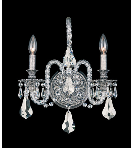 Schonbek Isabelle 2 Light Wall Sconce in Roman Silver and Silver Shade Swarovski Elements Colors Trim 6302-80SH photo
