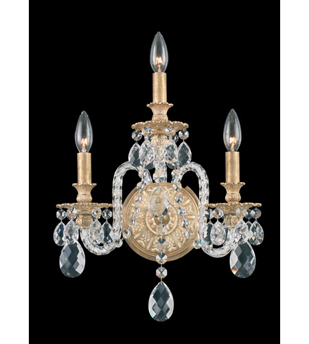 Schonbek Isabelle 3 Light Wall Sconce in Parchment Gold and Clear Optic Handcut Trim 6303-27O photo