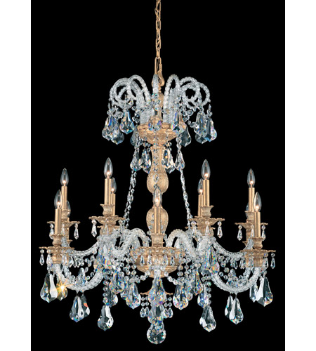 Schonbek Isabelle 12 Light Chandelier in Parchment Gold and Crystal Swarovski Elements Trim 6312-27S photo