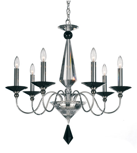 Schonbek Jasmine 7 Light Chandelier in Silver and Jet Black Optic Handcut Colors Trim 9677-40BK photo