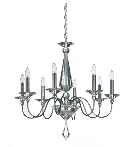 Schonbek Jasmine 8 Light Chandelier in Black Pearl and Clear Optic Handcut Trim 9678-49CL photo