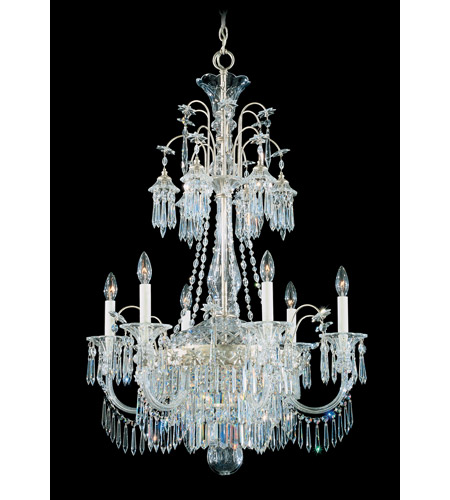 Schonbek Kirov 9 Light Chandelier in Antique Silver and Clear Heritage Trim 7174-48 photo