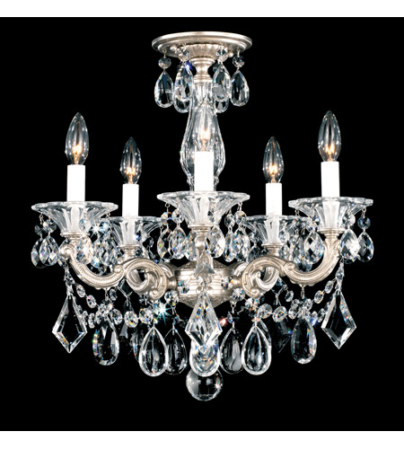 Schonbek 5345-48 La Scala 5 Light 18 inch Antique Silver Semi Flush Mount Ceiling Light in Clear Heritage, Convertible to Pendant photo