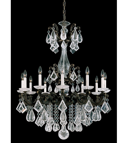 Schonbek La Scala Rock Crystal 12 Light Chandelier in Bronze Umber and Clear Rock Crystal Trim 5411-75 photo