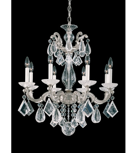 Schonbek 5473-48 La Scala Rock Crystal 8 Light 25 inch Antique Silver Chandelier Ceiling Light photo