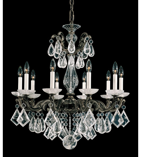 Schonbek 5474-74 La Scala Rock Crystal 10 Light 28 inch Parchment Bronze Chandelier Ceiling Light photo
