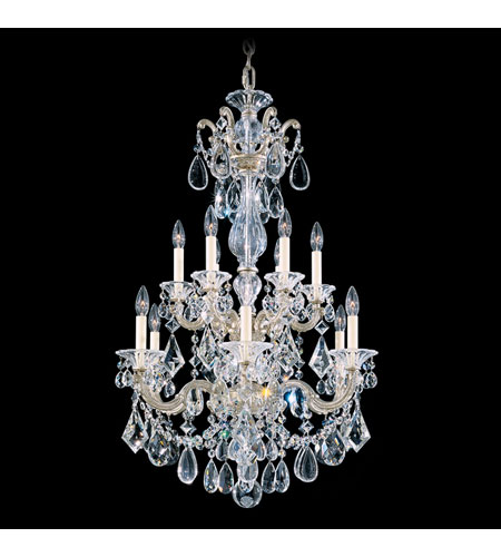 Schonbek La Scala 12 Light Chandelier in Antique Silver and Clear Spectra Crystal Trim 5009-48A photo