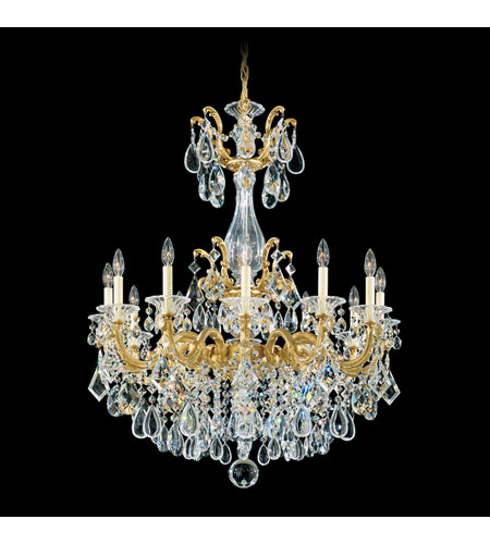 Schonbek La Scala 12 Light Chandelier in Heirloom Gold and Clear Spectra Crystal Trim 5011-22A photo