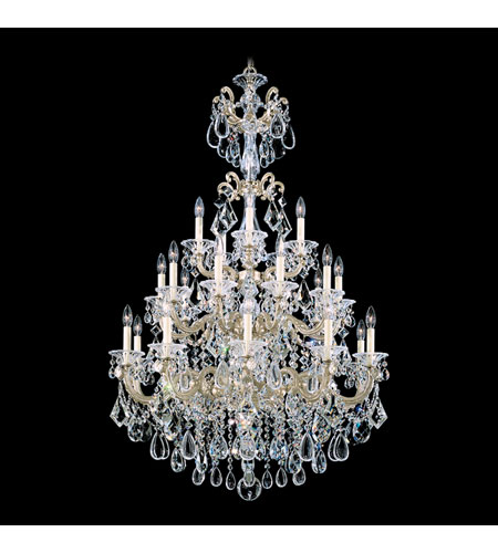Schonbek La Scala 25 Light Chandelier in Heirloom Silver and Golden Shadow Swarovski Elements Colors Trim 5012-44GS photo