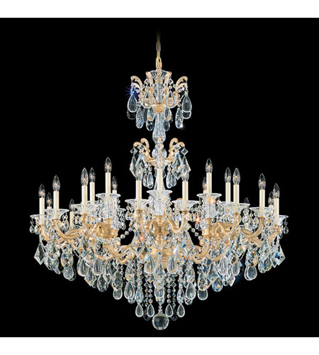 Schonbek La Scala 24 Light Chandelier in Parchment Gold and Clear Spectra Crystal Trim 5013-27A photo