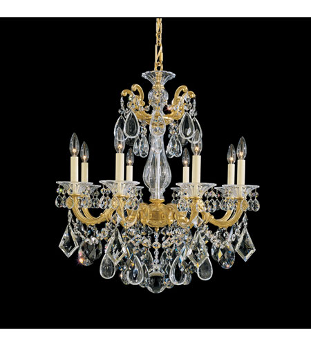 Schonbek La Scala 8 Light Chandelier in Heirloom Gold and Clear Heritage Handcut Trim 5073-22 photo