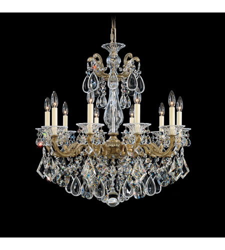 Schonbek La Scala 10 Light Chandelier in Parchment Bronze and Clear Spectra Crystal Trim 5074-74A photo
