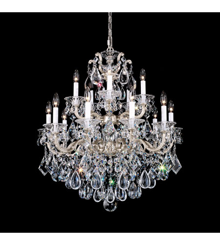 Schonbek La Scala 15 Light Chandelier in Antique Silver and Clear Optic Handcut Trim 5075-48O photo