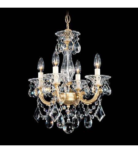 Schonbek La Scala 4 Light Convertible Semi Flush or Pendant in Heirloom Gold and Clear Optic Handcut Trim 5344-22O photo