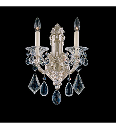 Schonbek La Scala 1 Light Wall Sconce in Antique Silver and Golden Teak Swarovski Elements Colors Trim 5070-48TK photo