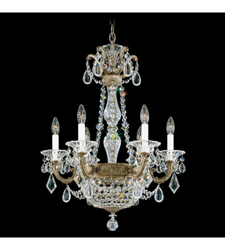 Schonbek La Scala Empire 8 Light Chandelier in Parchment Bronze and Golden Teak Swarovski Elements Colors Trim 5076-74TK photo