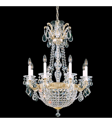 Schonbek La Scala Empire 10 Light Chandelier in Heirloom Silver and Silver Shade Swarovski Elements Colors Trim 5078-44SH photo