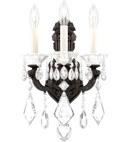 Schonbek 5071-83S Lascala 3 Light 12 inch Florentine Bronze Wall Sconce Wall Light in Cast Florentine Bronze, La Scala Swarovski photo