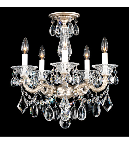 Schonbek 5345-86S La Scala 5 Light 18 inch Midnight Gild Semi Flush Mount Ceiling Light in Clear Swarovski, Convertible to Pendant photo