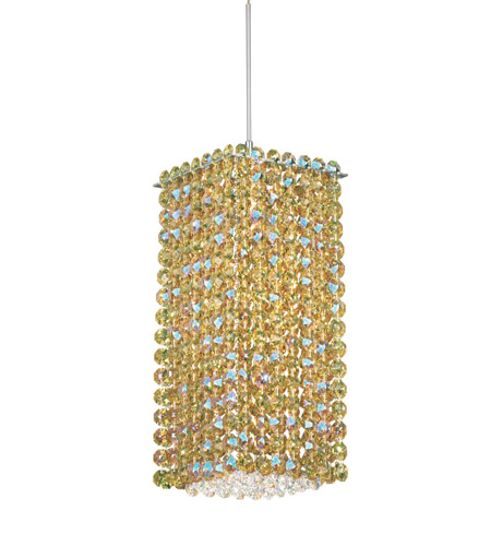Schonbek Matrix 1 Light Pendant in Stainless Steel and Golden Swarovski Elements Trim MT0510GOL photo