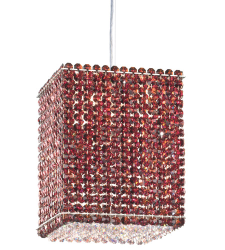 Schonbek Matrix 4 Light Pendant in Stainless Steel and Cinnabar Swarovski Elements Trim MT0810CIN photo